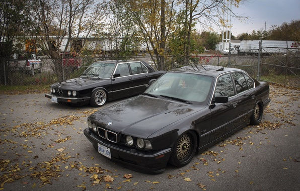 Picture autumn, leaves, tuning, BMW, BMW, drives, classic, tuning, autumn, E34, stance, E28