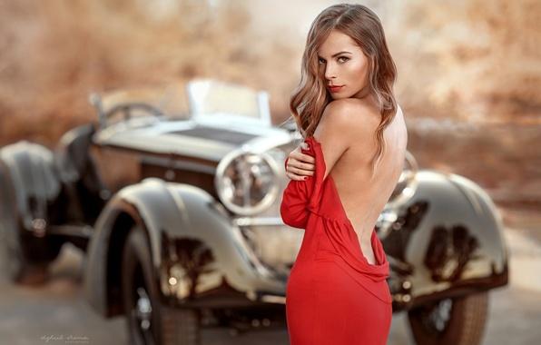 Picture auto, look, girl, retro, back, dress