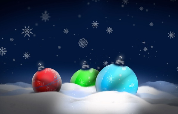 Picture snow, balls, new year, Christmas toys