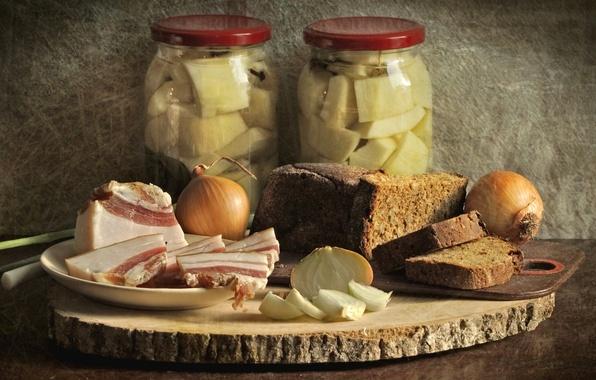 Picture bow, bread, still life, fat