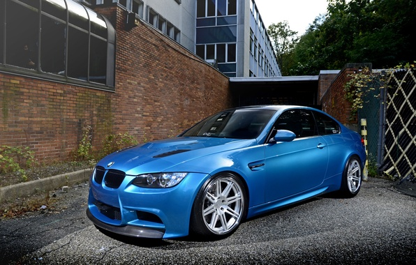 Picture wall, blue, the building, shadow, BMW, BMW, brick, e92, Atlantic blue