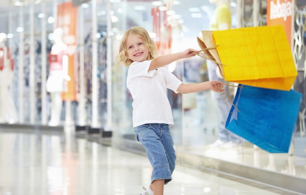 Picture joy, happiness, yellow, smile, blue, child, laughter, girl, purchase, packages, shopping