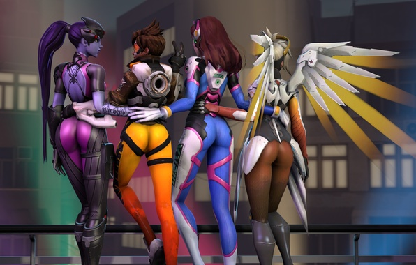 Picture ass, girl, rendering, Tracer, overwatch, Widowmaker, Lena Oxton, Amélie Lacroix, Mercy, D.Va, Hana Song, Angela …