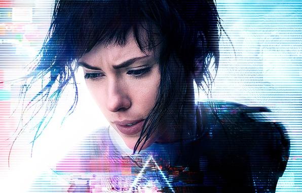 Picture Scarlett Johansson, cinema, wallpaper, logo, robot, green eyes, woman, anime, night, short hair, movie, Ghost …
