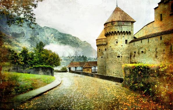 Picture road, landscape, mountain, vintage, fairytale castle