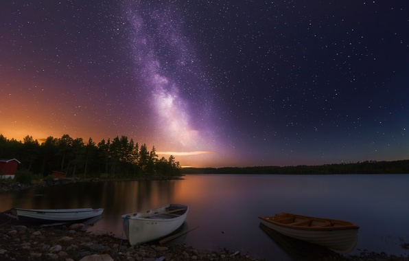 Picture night, lake, stars, boats, Norway, Three of a Kind
