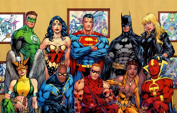 Picture batman, superman, comics, heroes, green lantern, wonder woman, dc universe
