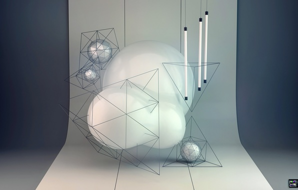Picture abstraction, rendering, lamp, balls, pyramid, condezine