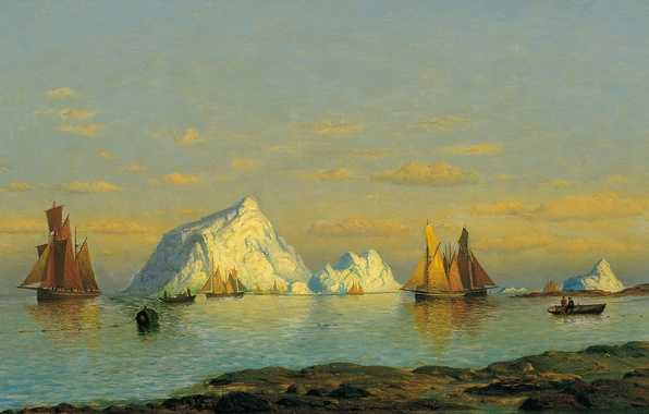 Picture boat, ship, picture, iceberg, sail, seascape, William Bradford, The fishermen on the Coast of Labrador