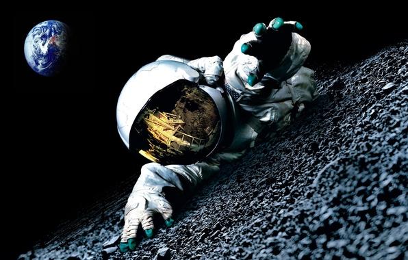 Picture darkness, the moon, planet, astronaut, Earth, Apollo 18, Apollo 18
