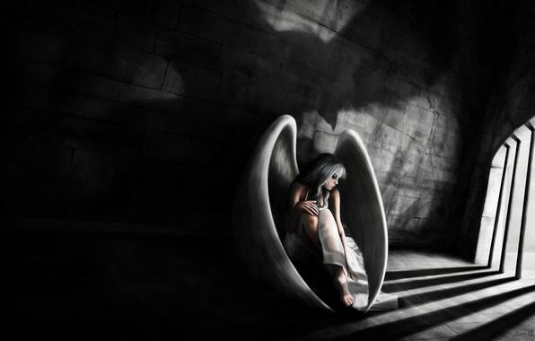 Picture sadness, girl, wings, angel, camera, art, prisoner, prison, grid, Loris Stavrinides