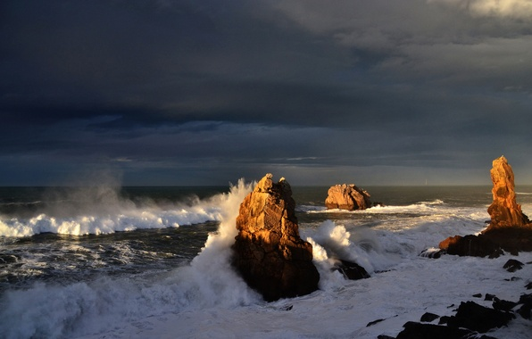Picture sea, wave, the sky, squirt, clouds, storm, rocks
