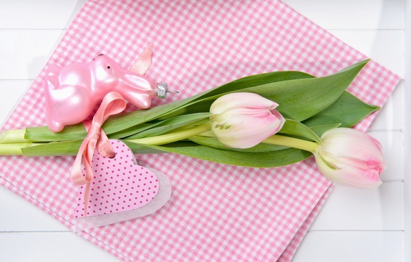 Picture flowers, holiday, toy, rabbit, Easter, tulips, pink, postcard
