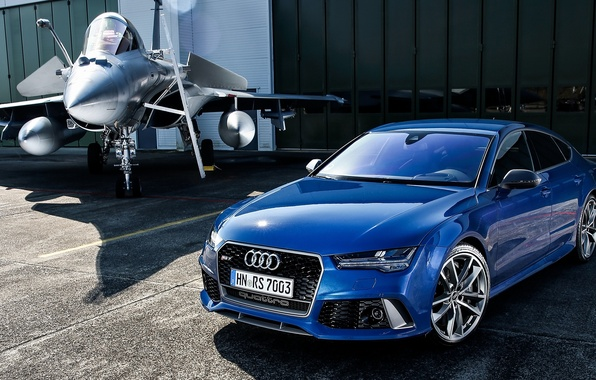 Picture the plane, Audi, Audi, blue, Sportback, RS 7
