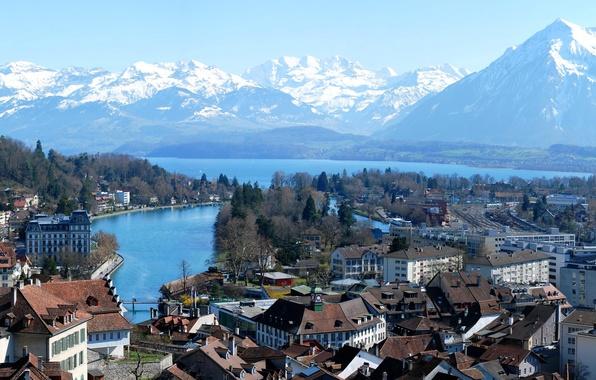 Picture the sky, snow, trees, landscape, mountains, bridge, lake, street, home, Switzerland, Bay, quarter, Bern