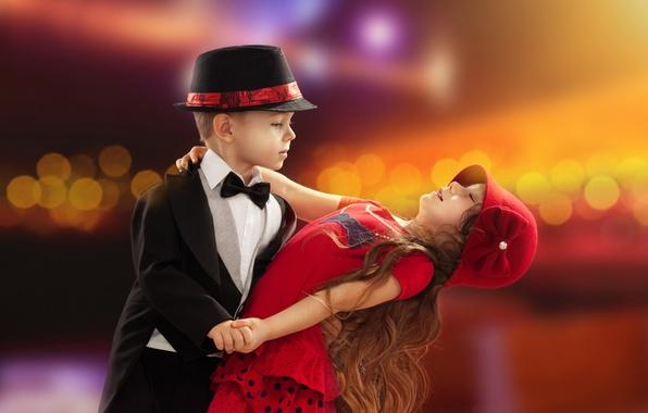 Picture love, childhood, romance, child, dance, boy, pair, girl, love, Valentine's day, boy, couple, dance, Valentine's …