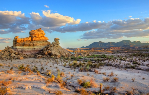 Picture the sky, clouds, mountains, rocks, Prairie, USA, Big Bend National Park
