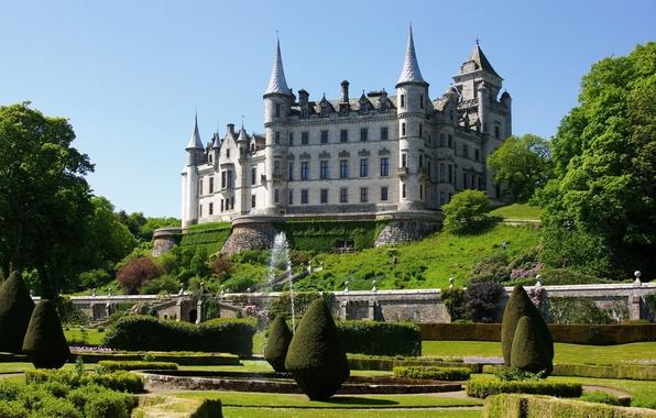 Picture Park, castle, garden, Scotland, fountain, Scotland, Castle, Sutherland, Dunrobin