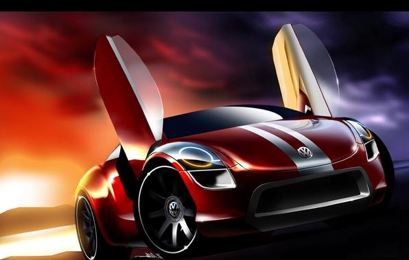 Picture auto, Volkswagen, sketch