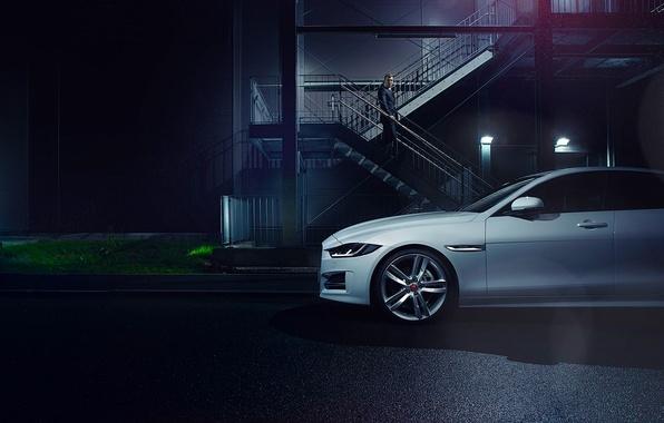 Picture Jaguar, Car, White, Side, Automotive, Premium, 2015, Ligth, Nigth