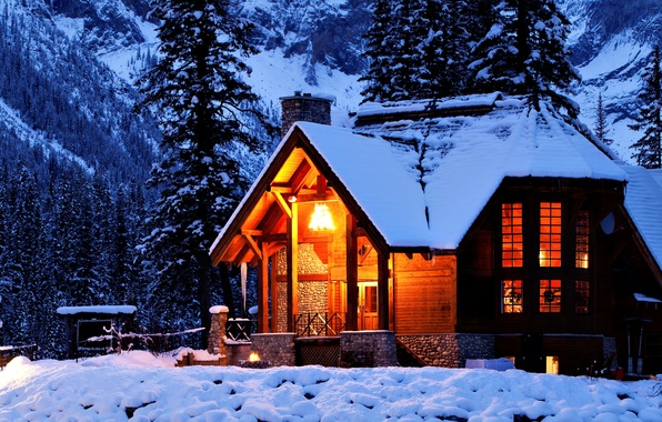 Picture winter, light, snow, trees, mountains, night, nature, house, house