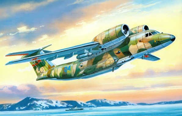 Photo wallpaper the plane, art, USSR, Russia, sea, night, OKB, service, for, designed, fight, patrol, developer, detection, ...