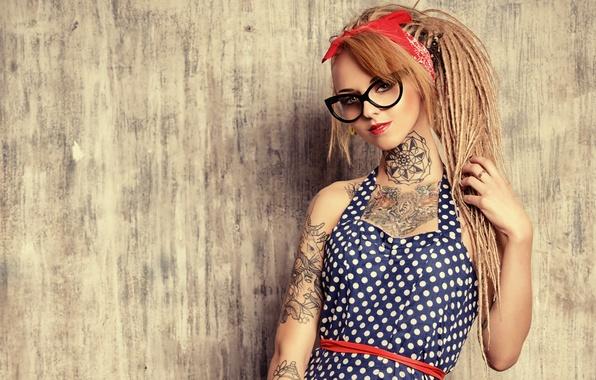 Picture look, girl, background, hair, polka dot, dress, tattoo, glasses, braids