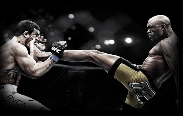 Picture blow, MMA, front kick, Anderson Silva, Anderson Silva, UFC, mixed martial arts, Vitor Belfort, front …