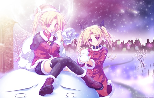 Picture winter, snow, trees, the city, girls, holiday, the moon, comet, New year, snowman, bag