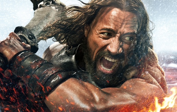 Picture Action, Fantasy, Fire, Hero, Body, Warrior, Wallpaper, Effect, Dwayne Johnson, Hercules, Weapons, Face, Man, Movie, …