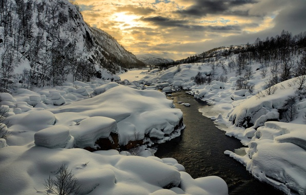 Picture winter, the sky, the sun, snow, mountains, river