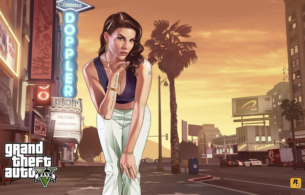 Picture look, girl, the city, street, center, art, gta, Los Santos, Grand Theft Auto 5