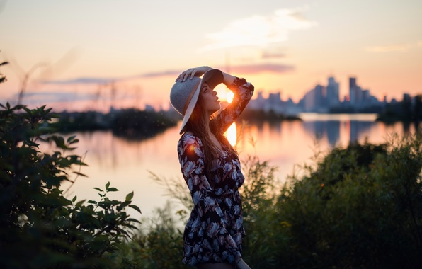 Picture girl, the sun, sunset, the city