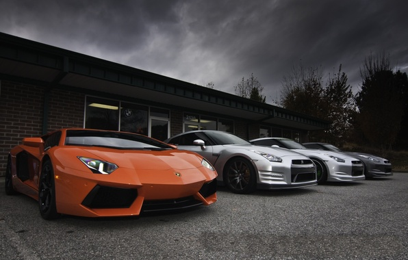 Picture the sky, orange, clouds, grey, the building, silver, nissan, lamborghini, Nissan, gtr, orange, aventador, lp700-4, …
