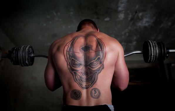 Picture skull, tattoo, Jock, rod