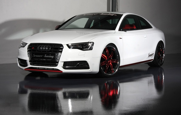 Picture white, reflection, Audi, Audi, floor, white, coupe, Senner tuning, senner tuning