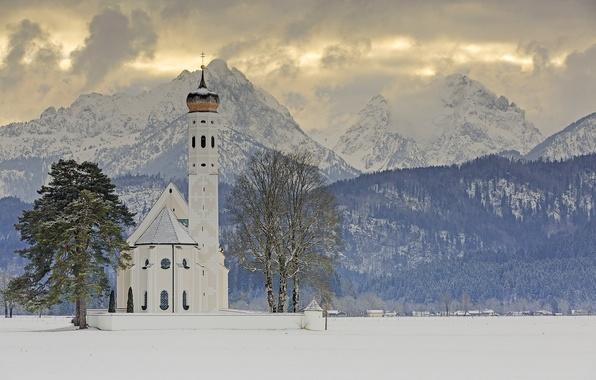 Picture winter, trees, mountains, Germany, Bayern, Alps, Church, Germany, Bavaria, Alps, Schwangau, Schwangau, Saint Coloman, Church ...
