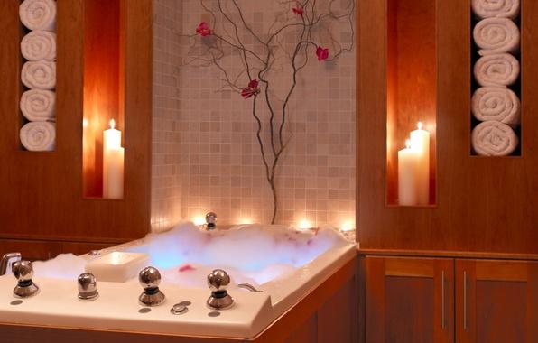 Picture foam, towel, candles, bath, locker, bathroom