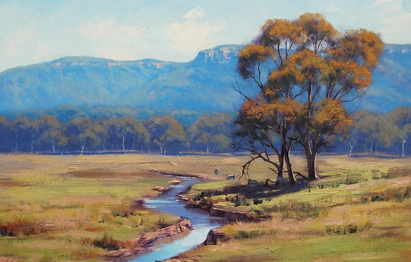 Picture animals, landscape, river, tree, hills, art, artsaus