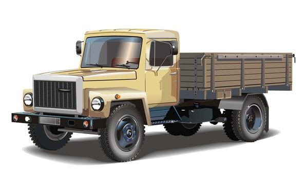Picture retro, vector, truck, cabin