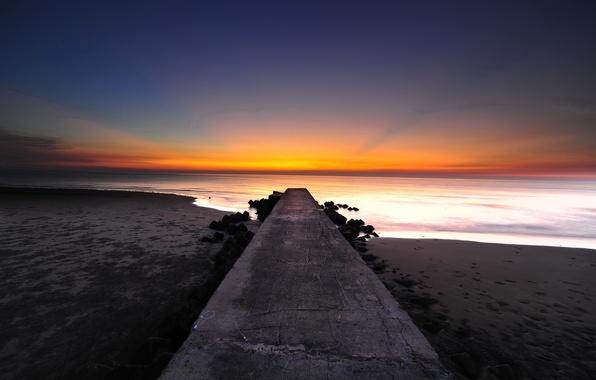 Picture beach, the ocean, dawn, shore, pierce