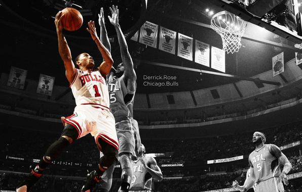 Picture jump, sport, sport, rose, basketball, arena, basketball, nba, match, NBA, chicago, bulls, throw, hawks, Atlanta, ...