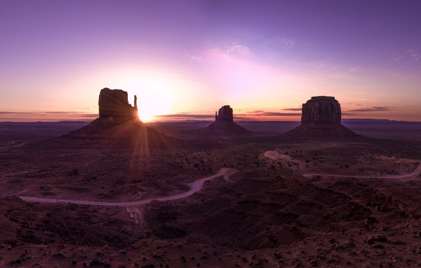 Picture mountains, dawn, desert, valley, landscape, panorama, arizona, monument valley