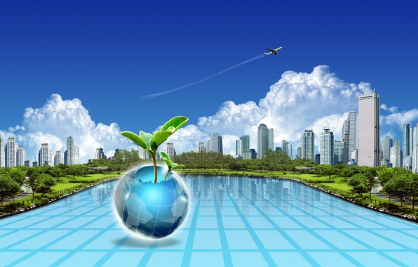 Picture the city, the plane, earth, collage, plant, ball, home, journey, tourism