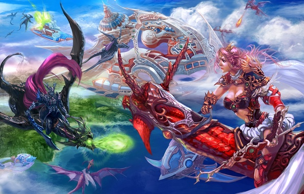 Picture girl, weapons, transport, magic, dragons, art, male, battle, in the sky, xiaobotong