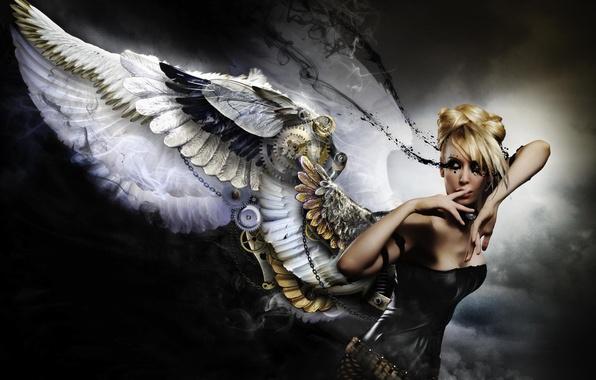 Picture girl, background, mechanism, wings, angel, dress, black, blonde