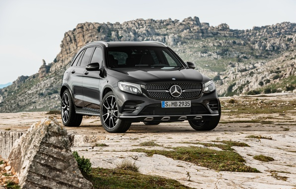 Photo wallpaper black, Mercedes-Benz, SUV, Mercedes, AMG, Black, X253, GLC-Class