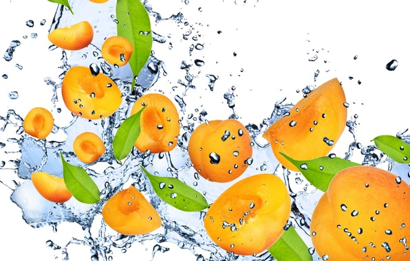 Picture water, drops, squirt, freshness, orange, fruit, apricot, water, fruit, orange, drops, spray, Apricot
