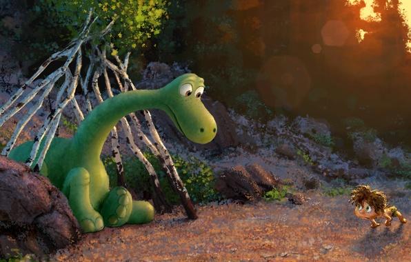 Picture forest, green, figure, cartoon, dinosaur, boy, fantasy, art, pixar, animation, disney, concept art, the hut, …