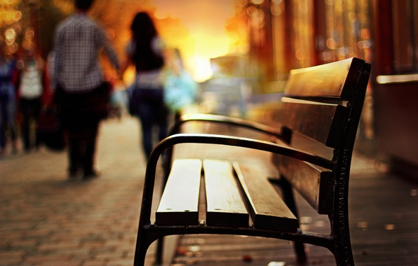 Picture girl, bench, background, blur, the evening, shop, shop, guy, different, bench